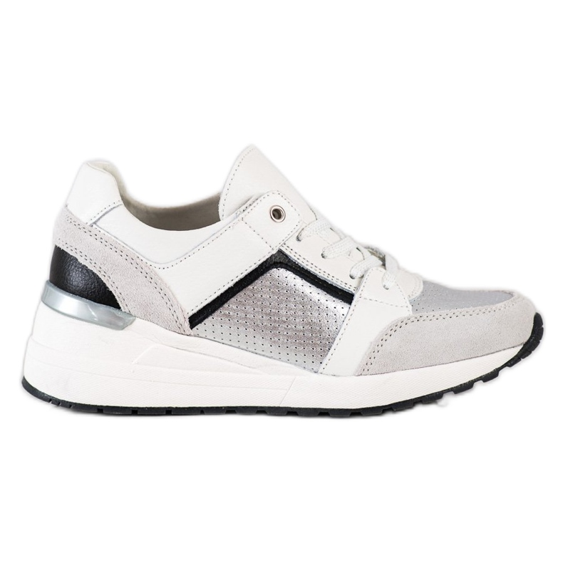 Goodin Biało-srebrne Sneakersy Ze Skóry białe czarne srebrny szare