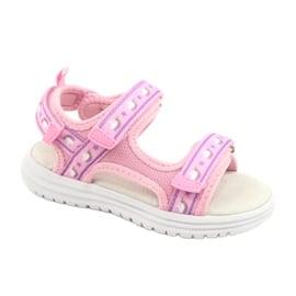 American Club Różowe Sandałki Wkładka Skóra fioletowe