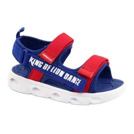 American Club Niebieskie Sandałki chłopięce na rzepy RL27/21 czerwone