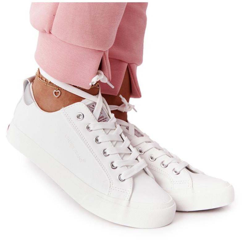 Big Star Damskie Eko-Skóra Tenisówki Cross Jeans HH2R4001C Białe