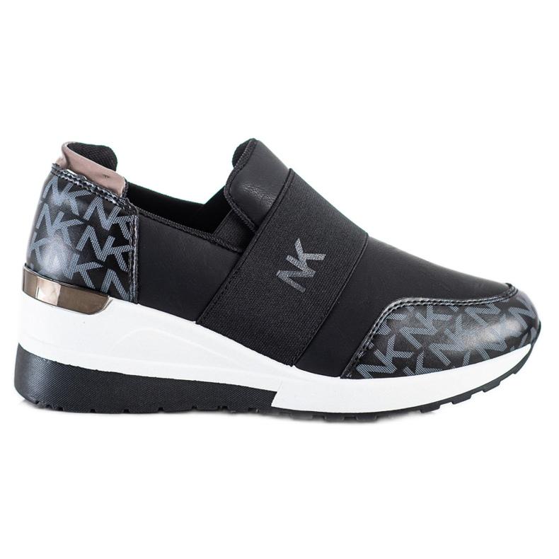 SHELOVET Wsuwane Czarne Sneakersy