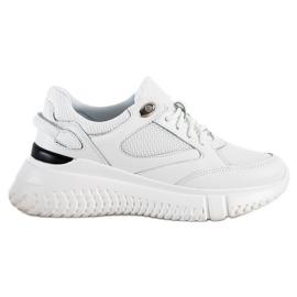 Weide Białe Sneakersy Z Brokatem