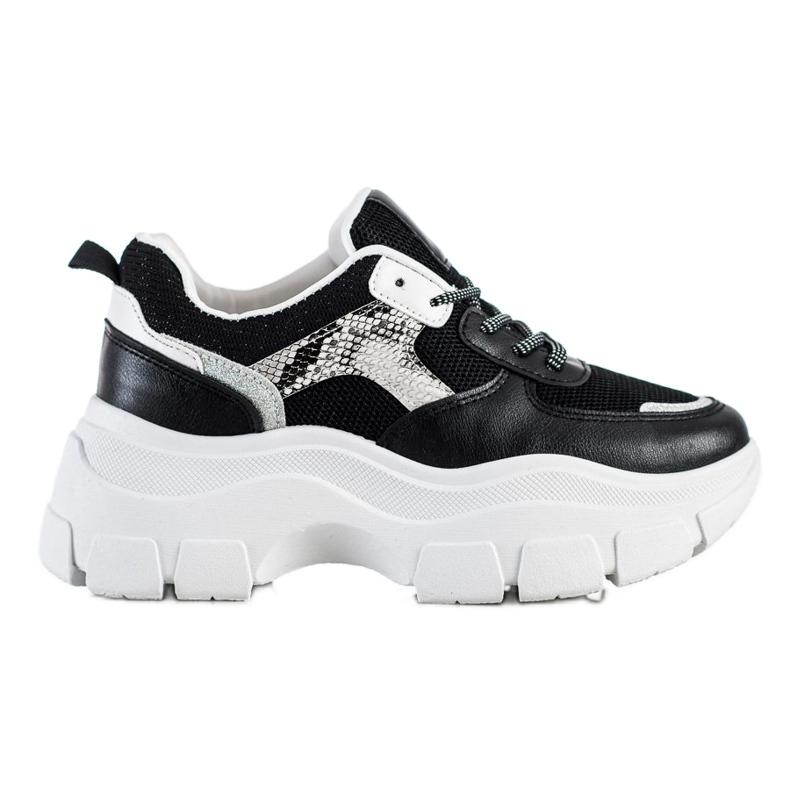 SHELOVET Stylowe Sneakersy Z Brokatem czarne