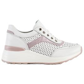 Goodin Skórzane Sneakersy Z Ażurowym Wzorem białe