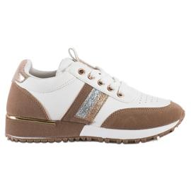 SHELOVET Sneakersy Z Zamszową Wstawką białe brązowe