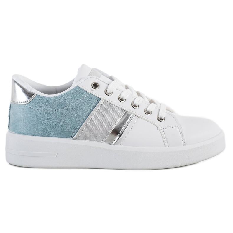 SHELOVET Buty Sportowe Z Zamszową Wstawką białe niebieskie