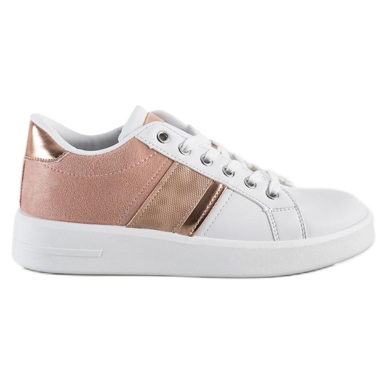 SHELOVET Buty Sportowe Z Zamszową Wstawką białe różowe