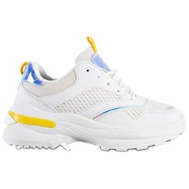 SHELOVET Sneakersy Na Platformie Z Siateczką białe