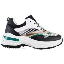 SHELOVET Sneakersy Na Platformie Z Siateczką białe czarne wielokolorowe