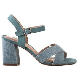 Sandały Na Obcasie VINCEZA niebieskie zielone