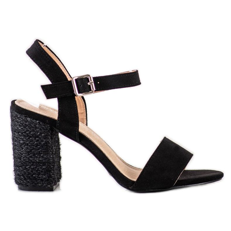 Sandałki Z Plecionym Obcasem VINCEZA czarne