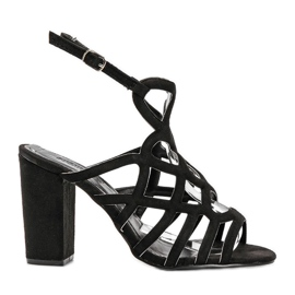 Czarne sandałki ażurowe na słupku Imani