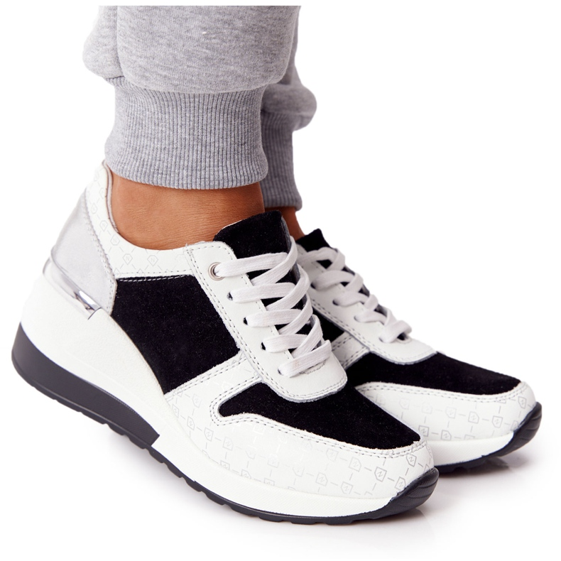 Skórzane Sneakersy Na Koturnie S.Barski Czarno-Białe czarne