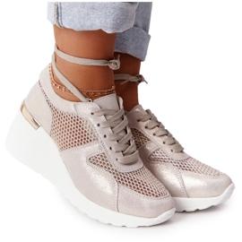 Skórzane Sneakersy Na Koturnie Z Siateczką S.Barski Złote złoty