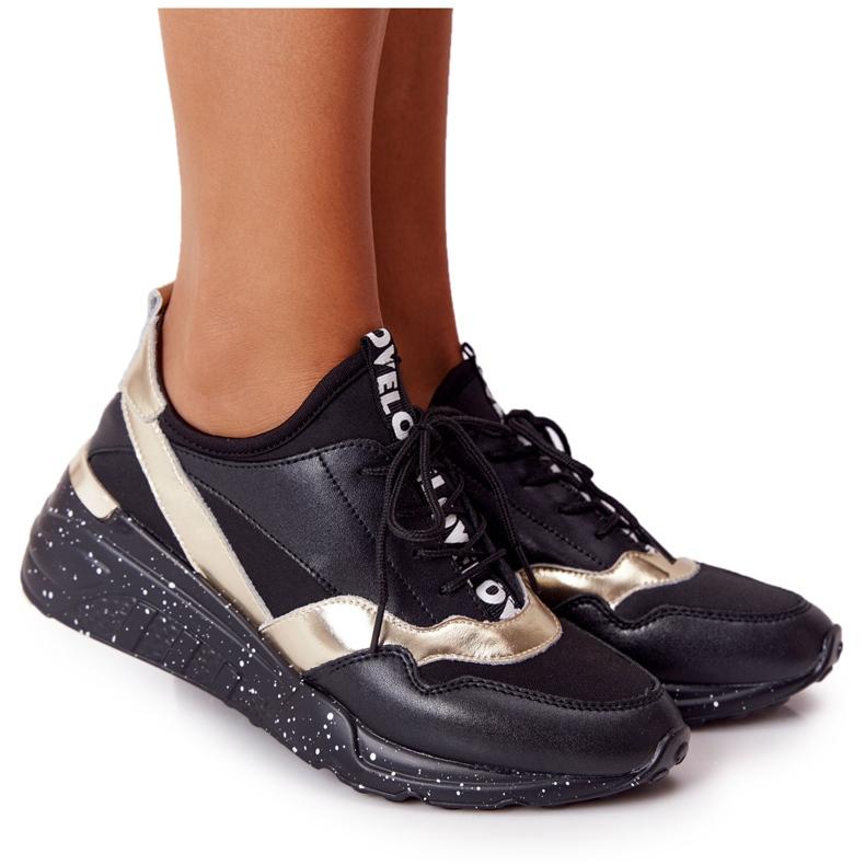 Skórzane Sneakersy Na Koturnie S.Barski Czarno-Złote czarne złoty