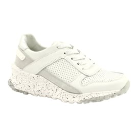 Filippo Slipony buty sportowe skóra FILI PPO DP2008/21 WH białe szare