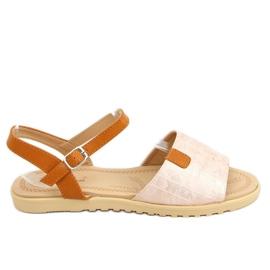 Sandałki damskie różowe PT-2R26 Champagne brązowe