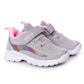 Dziecięce Sportowe Buty Sneakersy Szare Ready Go! różowe wielokolorowe