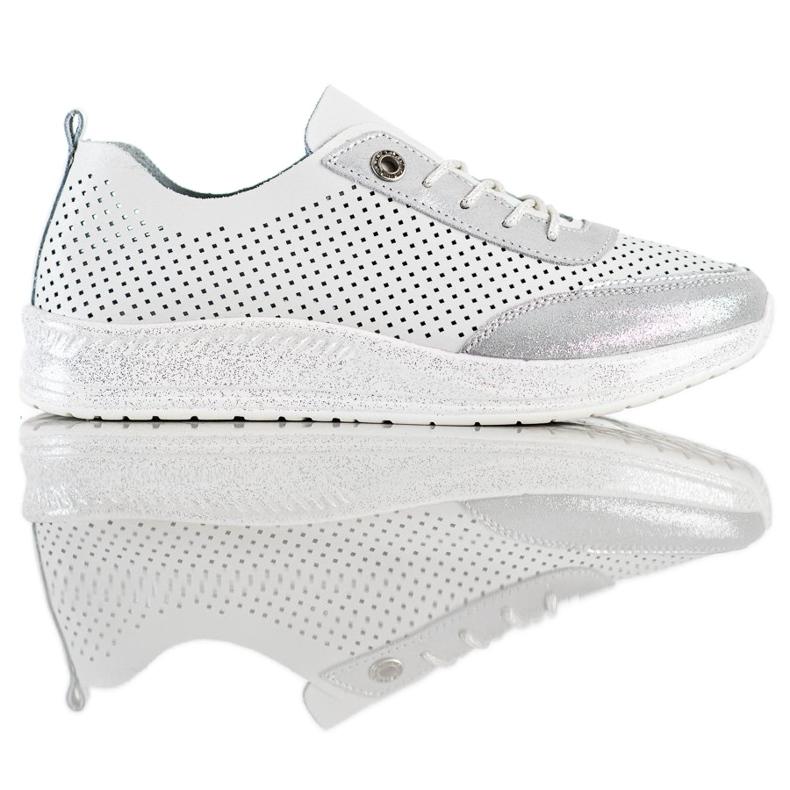 Goodin Biało-srebrne Sneakersy Ze Skóry białe
