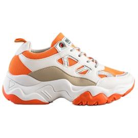 SHELOVET Sznurowane Sneakersy Fashion białe pomarańczowe wielokolorowe