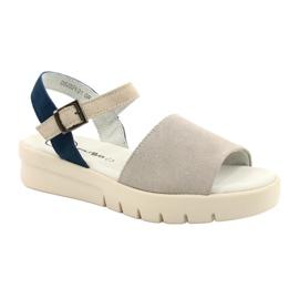 Wygodne Sandały Skóra Filippo DS2021/21 GR niebieskie szare