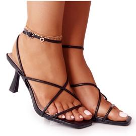 Sandały Na Szpilce Z Kwadratowym Noskiem S.Barski C420-11 Czarne