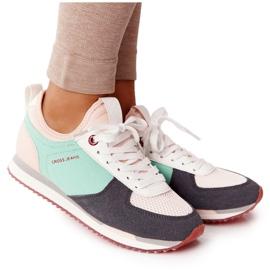 Sportowe Buty Memory Foam Cross Jeans HH2R4049C Zielono-Różowe zielone