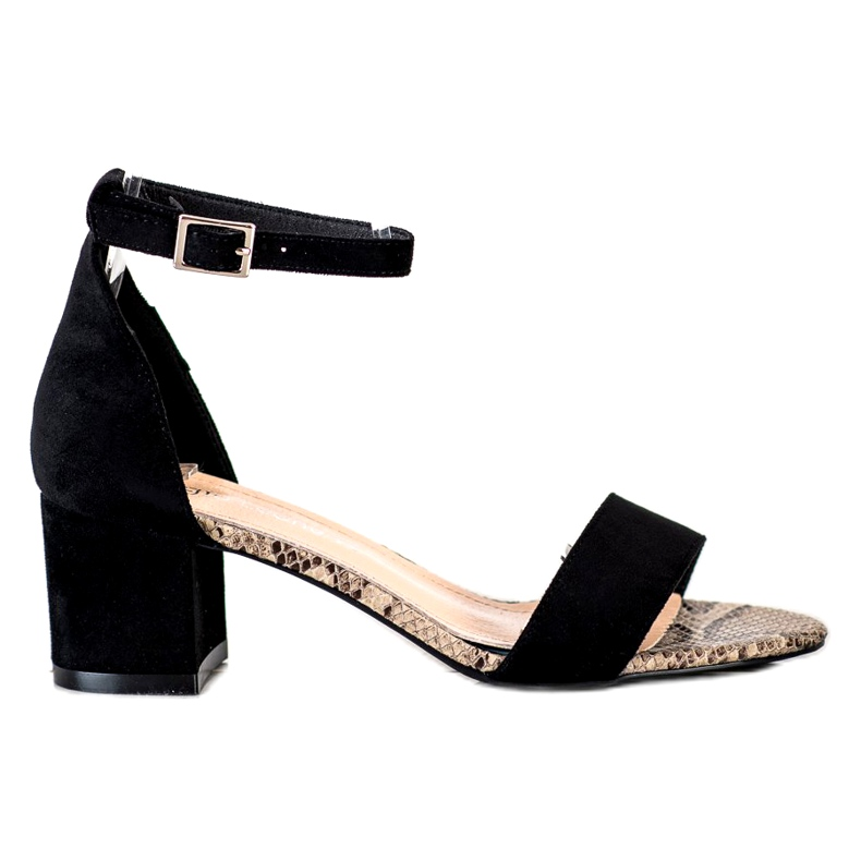 Sandały na niskim słupku Sergio Leone SK839 beżowy brązowe czarne
