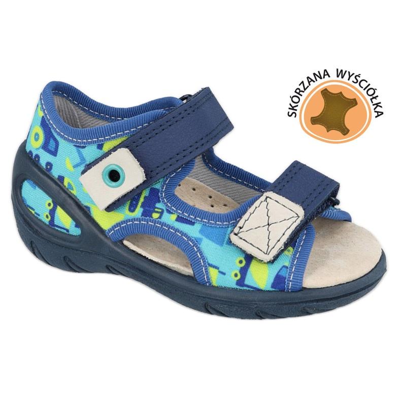 Befado obuwie dziecięce pu 065X156 granatowe niebieskie zielone