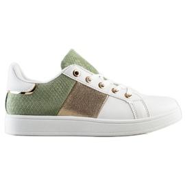 SHELOVET Modne Sznurowane Sneakersy białe wielokolorowe zielone