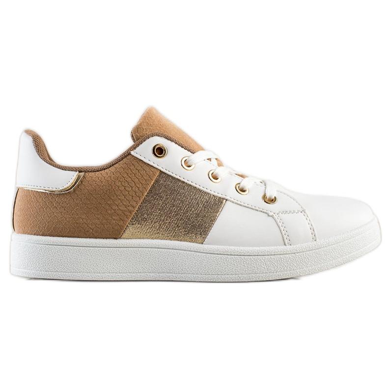SHELOVET Modne Sznurowane Sneakersy białe brązowe wielokolorowe