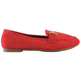 Anesia Paris Eleganckie Mokasyny czerwone