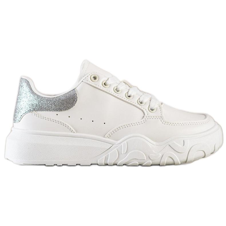Small Swan Białe Sneakersy Z Eko Skóry