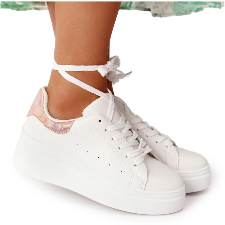 Sportowe Buty Sneakersy Na Platformie Biało-Złote Shine Bright białe złoty
