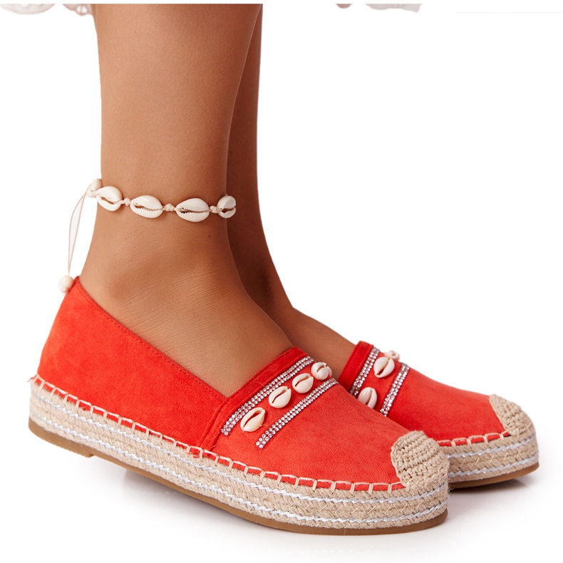 PG1 Espadryle Na Platformie Z Muszelkami Koralowe Seashell beżowy czerwone pomarańczowe