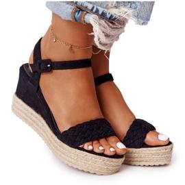 PS1 Sandały Na Koturnie Z Plecionką Czarne Baleary beżowy