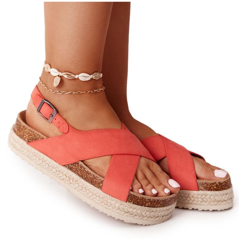 Sandały Na Korkowej Platformie Big Star FF274A129 Koralowe beżowy czerwone