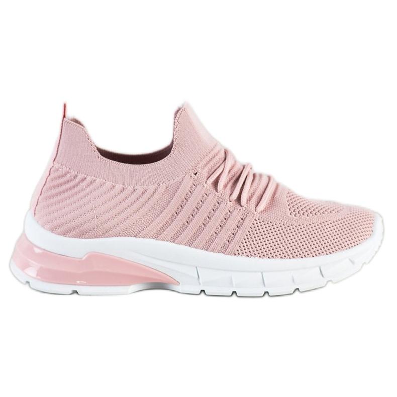 Bella Paris Ażurowe Sneakersy różowe