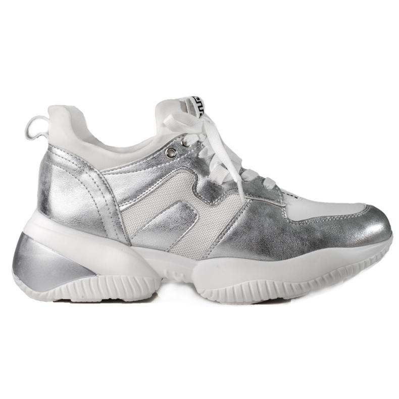 Weide Biało-srebrne Sneakersy białe srebrny