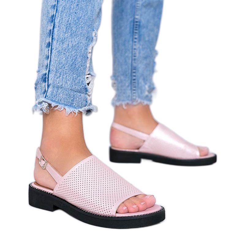 Różowe sandały na płaskim obcasie Betsy