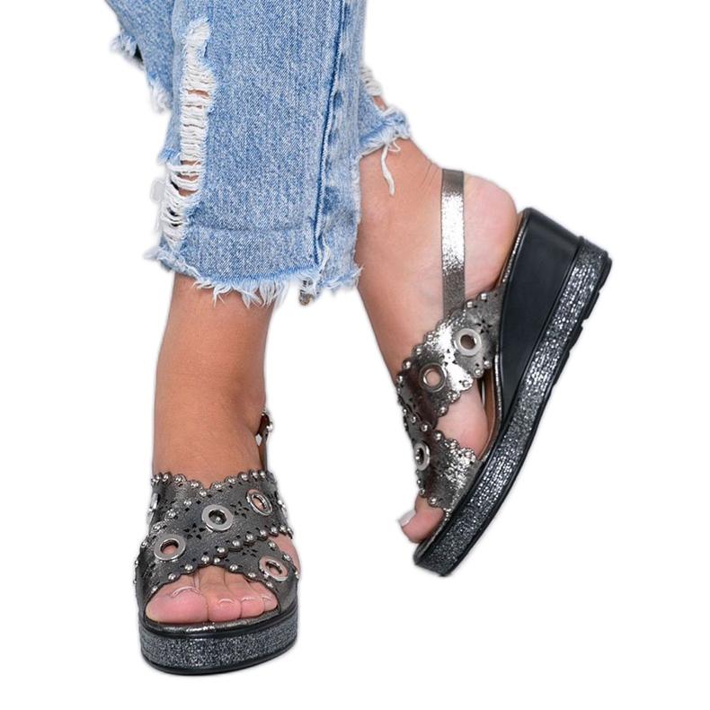 Szare sandały na koturnie metaliczne Mon