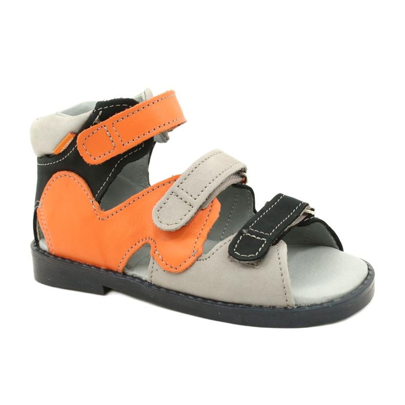 Sandałki wysokie profilaktyczne Mazurek 291 szary orange pomarańczowe szare
