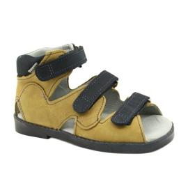 Sandałki wysokie profilaktyczne Mazurek 291 szary orange szare żółte