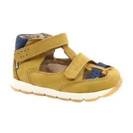 Sandałki chłopięce rzepy Mazurek 1187 c.żółty granatowe żółte