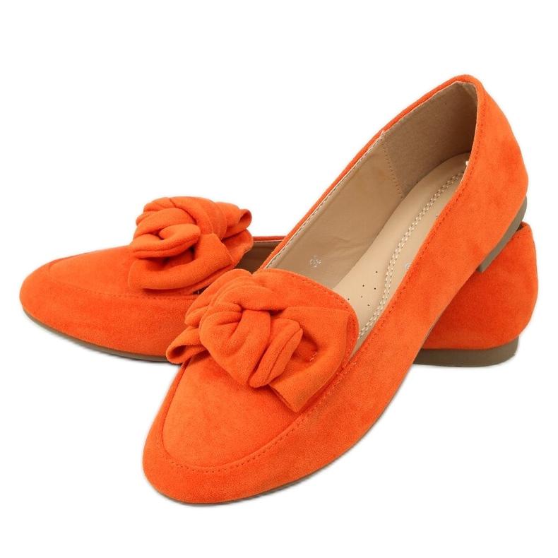 Mokasyny z kokardą pomarańczowe 88-382 Orange