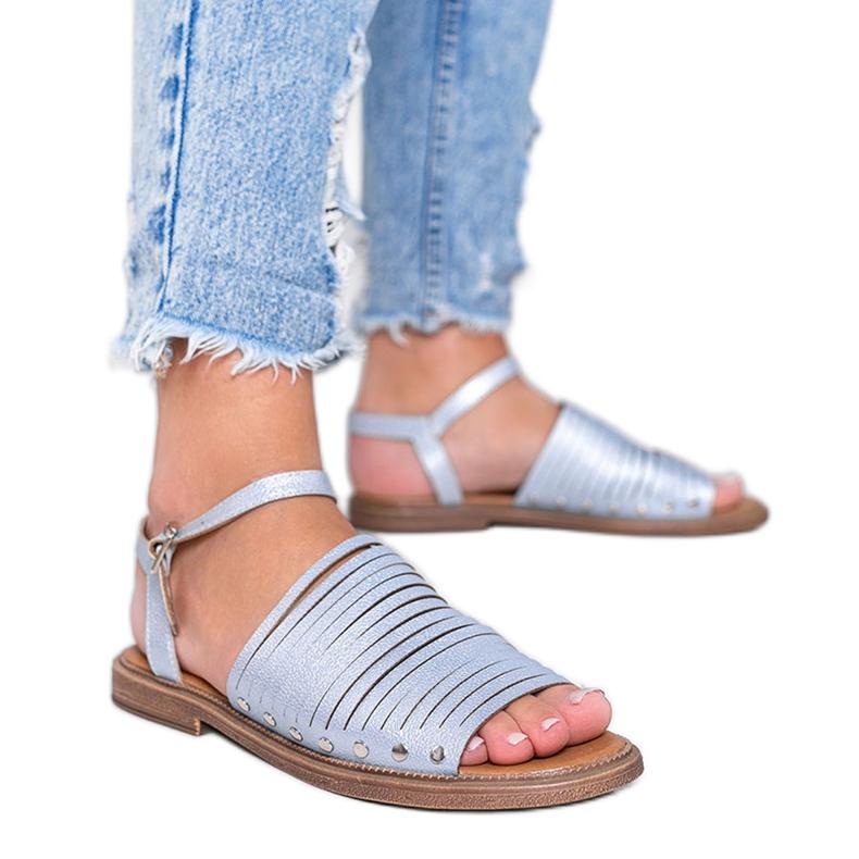 Niebieskie sandały z połyskiem Brown Sun różowe