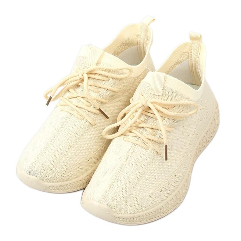 Buty sportowe skarpetkowe beżowe 7819 LT.BEIGE beżowy