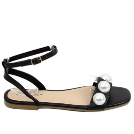 Sandałki damskie z perłami czarne H19 Black