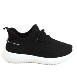Buty sportowe skarpetkowe czarne 7817 BLACK/WHITE