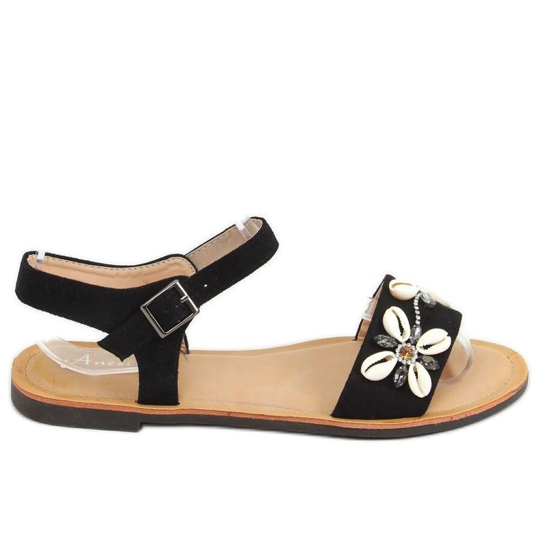 Sandałki z muszelkami czarne M78 Black